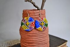 Earrings Wooden Hand painted Patchwork style by IGORartPAINTING