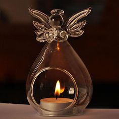 MYSTICAL MAGIC    ON SALE NOW      Crystal Glass Hanging Angel Candle Holder    FREE DELIVERY