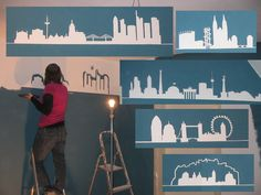 Farbe an die Wand, Silhouetten diverser Städte - painting a room with silhouettes from Frankfurt, London, Salzburg ...