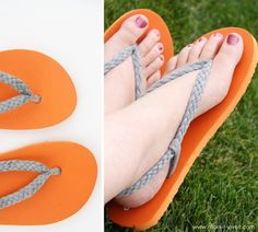 Cut up an old boring pair of flip-flops and create new straps with 5 strand braids, made from stretchy Tshirt fabric.