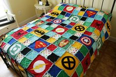 Superhero Rag Quilt Choose your Size Crib / by handmadebykep