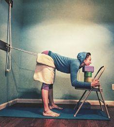 #ardhauttanasana using a #yogaropewall from #loissteinberg s neck and shoulder therapy book #tryiyengar #yogatherapy #iyengaryoga #yoga #halfforwardfold Iyengar Yoga, Ashtanga Yoga, Yoga Rope, Yoga Anatomy, Chair Yoga, Yoga Positions, Restorative Yoga, Types Of Yoga, Yoga Poses For Beginners