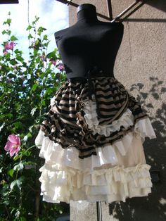 skirt, steampunk, steampunk skirt, victorian, stripes, lace, petticoat skirt, tribal, fusion,alice in wonderland, vampire, women, fashion,. $52.00, via Etsy.