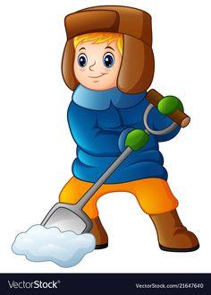 Cartoon boy shoveling snow vector image on VectorStock Snow Vector, Shoveling Snow, Chibi Boy, Cartoon Boy, Winter Wonder, Teaching Kindergarten, Christmas And New Year, Smurfs, Vector Free