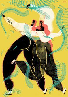 Livia Rescigno aka Resli Tale   www.picamemag.com... #illustration #black #moon #woman #couple #run #dream #yellow #dance