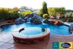 Freeform Swimming Pools from Premier Pools and Spas can include amazing water features like a waterfall or a spa. OR BOTH!