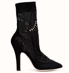 Dolce Gabbana Bottines noires en veau velours dentelle