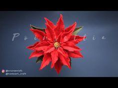 Easy Felt Poinsettia by S Nuraeni - Christmas Flower Decoration Christmas Flower Decorations, Christmas Flowers, Felt Decorations, Felt Christmas Ornaments, Diy Christmas, Felt Flower Wreaths, Poinsettia Flower, Felt Flowers, Diy Flowers