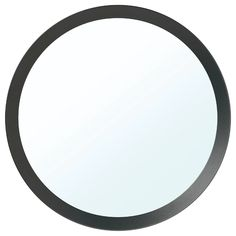 IKEA - LANGESUND, Mirror, dark gray, Provided with safety film - reduces damage if the glass is broken. Fits anywhere in the home and is also tested and approved for bathrooms. Ikea Vanity, Ikea Mirror, Round Mirrors, Vanity Mirrors, Mirror Decor Living Room, Chalet Design, Plastic Foil, Packaging, Full Bath