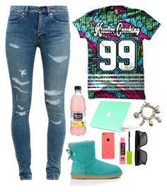 """""""Untitled #142"""" by fashion-killa-935 ❤ liked on Polyvore featuring Yves Saint Laurent, UGG Australia, Maybelline, CÉLINE and Juicy Couture"""