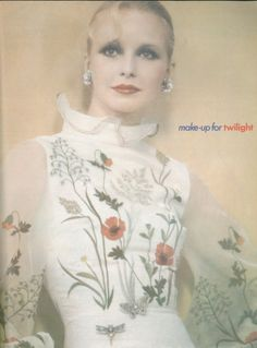 Maudie James in make-up article ~ June Vogue 1973
