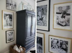 Gallery Wall from Emily A. Clark  -used only 12x18 and 16x20 prints -framed all in IKEA Ribba Frames and spray painted some of them in gold.