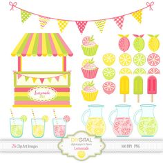 Lemonade clipart - pink lemonade stand -26 summer fruit clipart with green, pink and yellow lemons, shop stand, cupcakes, bunting, pitchers