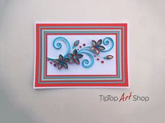Homemade Paper Quilling Card with Flowers for Birthday, Mother's Day, Thank You…