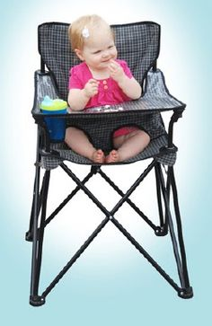 portable high chair great for outdoor events and camping- I don't have little ones but what a great idea!  That would have been so handy a few decades back!