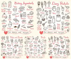 Hand Drawn food icons for menus and recipes in vector free for download and ready for print. Over 10,000+ graphic resources on vectorpicfree.