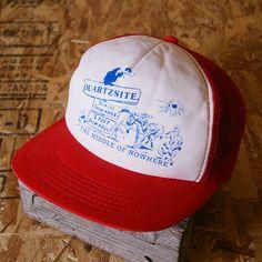 【Head Wear】古着レッドQUARTZSITEメッシュプリントキャップ cap-62