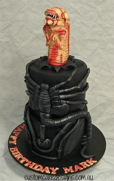 Alien Chestburster Cake - Cake by Custom Cake Designs