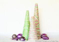 Paper Mache Christmas Trees #diy #paper #craft