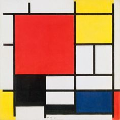 De STIJL- Composition with Large Red Plane, Yellow, Black, Gray and Blue ~ Piet Mondrian- PM believed that naturalistic colors and form disguise ultimate spiritual reality Piet Mondrian, Kandinsky, Canvas Art, Canvas Prints, Art Prints, Three Primary Colors, Dutch Artists, Vintage Wall Art, Art Design