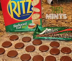 Make Your Own Thin Mints  Two ingredients--how about that!    Ritz Crackers  Andes Mint Baking Chips  Melt 1/4 of the bag at a time. It keeps it at the perfect consistency and you can use just enough before it thickens.  Dip the crackers and let dry.