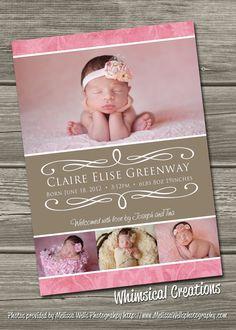 Baby Girl Birth Announcement Digital File Delilah  by cmalinowski3, $14.99
