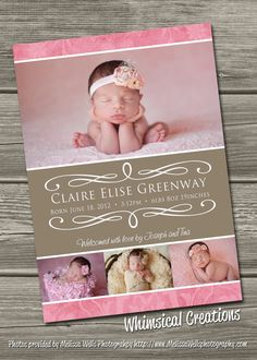 Baby Girl Birth Announcement Digital File Delilah  by cmalinowski3, $14.99