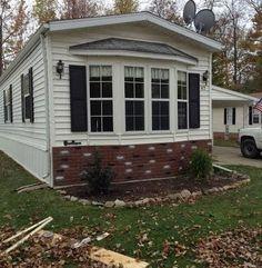 RREEAADD faux brick skirting update on manufactured home - good roi