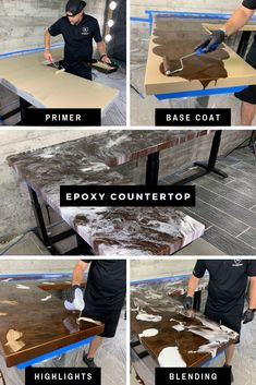 DIY Epoxy Countertop Learn how to install an epoxy countertop in your kitchen. Step by step process on how to get this look in your home!  Ecopoxy; Leggari products; promarine epoxy; rivertable epoxy; epoxy resin river table; crystal clear epoxy resin; fx epoxy table; epoxy resin tables; sanding epoxy resin, resin table