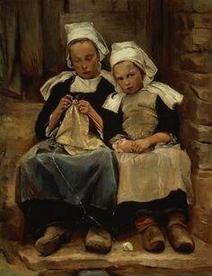"""""""Brittany Children"""" (1892),   by Enella Benedict"""