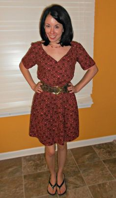 Today's piece is a fun & kitschy handmade house dress.  :) Okay…I'm not a fan of the brown & white print (too tablecloth-y!) and this is obviously too big for me.  Let&#82…