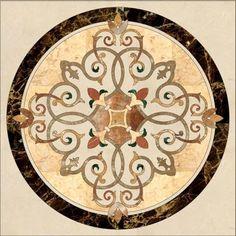 beige marble inlay medallion