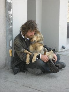 HOMELESS VET AND HIS FRIEND:       Based on various estimates, 500,000 to 840,000 veterans are homeless at some time during the year. It is also estimated by the VA that a veteran dies by suicide every 80 minutes. And nearly 20% of the returning forces from Afghanistan and Iraq suffer from either PTSD or major depression.  The price of war continues throughout the life of a veteran. Today reach out a hand to a vet, THE GOP WON'T... AND SPECIAL THANKS TO THE BUSH ADMIN.