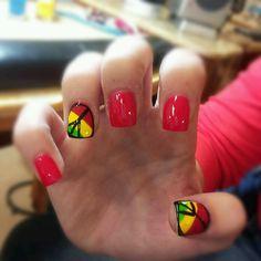 Rasta colors/bob marley nails