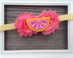 Baby headband, lemonade baby headband, lemon baby headband, pink yellow headband, fruit slice headband, yellow chevron pink headband