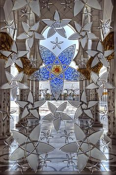 Looking through panes of stained glass from inside Sheikh Zayed Grand Mosque in Abu Dhabi, UAE ~ by JRaptor