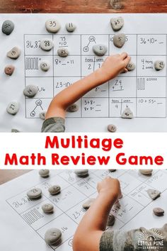Here is a fun math review game that's great for any age and ability! This game can be personalized for any common core standard or skill. Best of all, you just need a piece of paper, a marker, and some rocks to set it up for your students at school or children at home. Literacy Games, Creative Activities For Kids, Outdoor Activities For Kids, Math Games, Projects For Kids, Color Activities, Hands On Activities, Preschool Activities, Tens And Ones