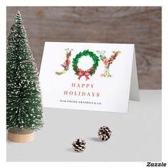 Modern elegant seasons greetings business holiday folded card