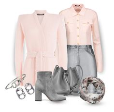 """""""Grey &...Peach"""" by onesweetthing ❤ liked on Polyvore featuring Balmain, Pierre Balmain, Lancaster, Alva-Norge, Gianvito Rossi and Marc Jacobs"""