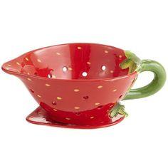 colander strawberry shaped saus of jus kannetje in de vorm van een aardbei