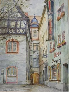 Aquarell | Artist Gallery Artist Gallery, Blue Art, Watercolour Painting, Old Houses, Images, Drawings, Artwork, Dream Houses, Bujo