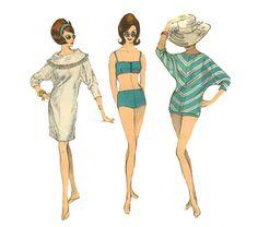 1960s Beach Dress and Bikini Pattern Vogue by PrettyPatternShop