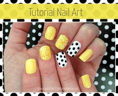 tutorialunhadecoradaamarela1 Tutorial Unha Decorada   Nail Art