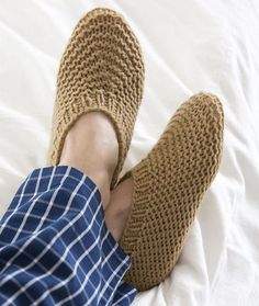 Slippers for Him Free Knitting Pattern from Red Heart Yarns