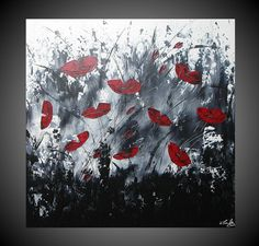 Acrylic Paintings Abstract Red Poppies Floral by acrylkreativ, via Etsy. Painting Snow, Painting Edges, Acrylic Painting Canvas, Acrylic Art, Canvas Art, Painted Letters, Hand Painted, Modern Art Deco, Black And White Abstract