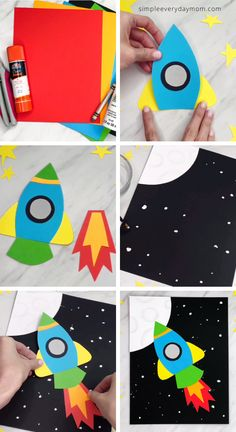Rocket Paper Craft For Kids. This simple paper craft for kids is a fun space themed activity to do at home, at school or daycare. It's a great art project for any time of year, plus it's easy to do with our free printable template. Fathers Day Crafts, Fun Crafts For Kids, Craft Activities For Kids, Toddler Crafts, Preschool Crafts, Projects For Kids, Craft Kids, Art Projects, Classroom Crafts