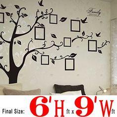 DAGO®, Huge 6' ft(H) x 9' ft(W), HUGE Size Photo Frame Family Tree Wall Decal, Picture Removable Wall Decor Decal Sticker, 11 Birds Black Tree Dago http://www.amazon.com/dp/B00OFSJO78/ref=cm_sw_r_pi_dp_.GJwvb1GYQNHD
