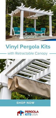 If you are thinking of a pergola but want a little shade..these retractable canopies are the perfect solution! You can have sun or shade, rain or shine with this solution! #backyardmakeover #outdoorliving Cedar Pergola Kits, Vinyl Pergola, Pergola Canopy, Backyard Shade, Pergola Shade, Above Ground Pool Decks, In Ground Pools, Outdoor Kitchen Patio, Outdoor Living