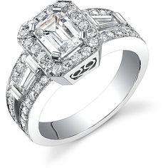 This 2 1/8 carat TDW diamond engagement ring will symbolize your everlasting love to her. This beautiful 18-karat white gold ring dazzles with an EGL-certified emerald-cut center diamond flanked by a halo of 54 round and two baguette diamonds.
