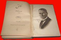 Nutuk 1927 Osmanlıca Basım - Nutuk (kitap) - Vikipedi-Mustafa Kemal Atatürk'ün Nutuk'unun 1927 Osmanlıca baskısının kapaktan sonra gelen ilk iki sayfası.